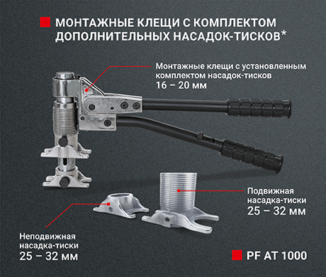 Монтажные клещи (с установленным комплектом насадок–тисков) - PF AT 1000