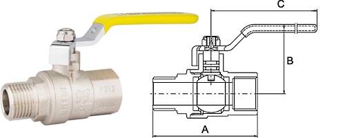 Кран шаровой для газа в/н, ручка-рычаг