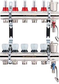 Коллекторная группа с расходомерами и термостатическими клапанами, дренажными кранами и воздухоотводчиками