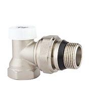 Клапан радиаторный настроечный угловой с конусным затвором и кольцевым уплотнением полусгона